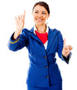 Air hostess pointing destinations Royalty Free Stock Photo