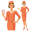 Air hostess. Stewardess holding ticket in her hand. Woman in official clothes