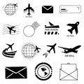 Air mail related icon set Royalty Free Stock Photo