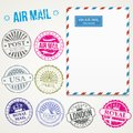 Air mail stamps and envelope vector Royalty Free Stock Photo