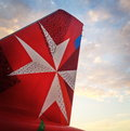 Air malta tail with logo new design for the plane featuring the pointed cross Stock Photography