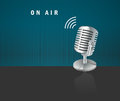 On air microphone icon on a dark background i have created design concept Royalty Free Stock Photography
