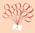 Air multicolored balloons lift up an envelope or letter with hearts
