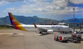 Air Pacific Boeing 737-800 Being at Nadi, Fiji Royalty Free Stock Image