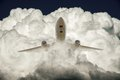 Air plane and cloud big white Stock Images
