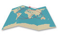Air plane flying folded world map isolated Royalty Free Stock Photography