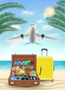 Air plane flying to sea with beach travel object
