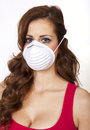 Air pollution advisory young attractive woman responds to an quality Royalty Free Stock Photo