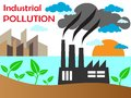 Air pollution of factory with chimneys against the sky vector illustration Royalty Free Stock Photography