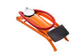 Air pumper tool for bicycle orange on white background Royalty Free Stock Photos