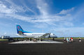 Air rarotonga cook islands aitutaki sep airplane and passengers arrive to aitutaki airport on sep the airline transport passengers Royalty Free Stock Images