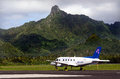 Air rarotonga cook islands sep airplane at international airport on sep the airline transport passengers between the Royalty Free Stock Images