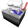 Air source heat pump diagram of a classic colonial house with as of energy for heating another house from the Stock Photo