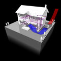 Air source heat pump floor heating diagram of a classic colonial house with as of energy for Royalty Free Stock Image