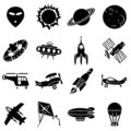 Air and space icons Stock Photography