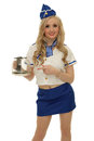 Air steward with coffe jug picture of beautiful young stewardess pointing a empty coffee Royalty Free Stock Images