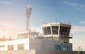 Air traffic control building and tower in a small airport. Royalty Free Stock Photo