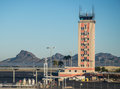 Air traffic control tower at the Tucson International Airport Royalty Free Stock Photo