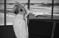 Air traffic controller at work stressed Royalty Free Stock Photos