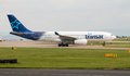 Air transat airbus a manchester united kingdom june taxiing manchester international airport Royalty Free Stock Images