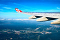 Air travel airasia plane was flying over kuala lumpur Royalty Free Stock Photos