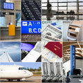 Air travel collage with different scenes at the airport Stock Photos