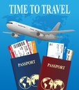 Air travel international vacation concept. Business travel banner with airline tickets and realistic airplane. Vector
