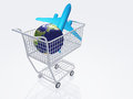 Air travel shopping aircraft and earth in cart Stock Image