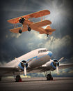 Air travel two vintage aircraft on the runway retro style picture Stock Photography
