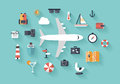 Air trip flat illustration concept design style modern vector icons set of traveling on airplane planning a summer vacation Royalty Free Stock Images