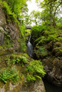 Aira force waterfall ullswater valley lake district cumbria england uk in beautiful woodland with bridge Royalty Free Stock Photos