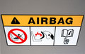 Airbag instruction in the vehicle Royalty Free Stock Photo