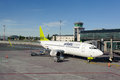 Airbaltic boeing docked in riga airport latvia june june operates about direct flights from Royalty Free Stock Photo