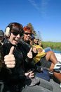 On the airboat an experience with about marshes of florida is to be driven Stock Image