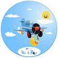 Airborn boy cartoon illustration of baby and plane Royalty Free Stock Image