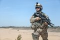 Airborne united states paratrooper infantry in the desert Stock Images