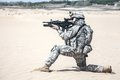Airborne united states paratrooper infantry in the desert Royalty Free Stock Image