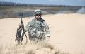 Airborne united states paratrooper infantry in the desert Stock Photography