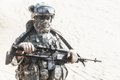 Airborne united states paratrooper infantry in the desert Stock Photo