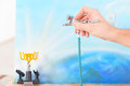 Airbrush hand holding a professional and painting Royalty Free Stock Photos