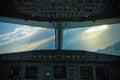 Airbus 320 cockpit view Stock Photos