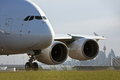 Airbus A380 jet airliner on runway Royalty Free Stock Photography