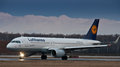 Airbus a lufthansa in domodedovo moscow in december Royalty Free Stock Images