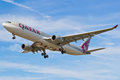 Airbus a qatar airways landing at london heathrow airport Royalty Free Stock Photos