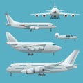 Aircraft, airplane, airliner passenger commercial, private, business jet and cargo. Modern flat style set of aircraft Royalty Free Stock Photo