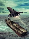 Aircraft carrier f fighter taking off from an Royalty Free Stock Photos