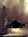 Aircraft carrier f fighter taking off from an Royalty Free Stock Photo