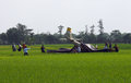 Aircraft crashed air force training in rice fields in sukoharjo central java indonesia Stock Photo