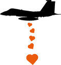 Aircraft dropping love bombs silhouetted bomber heart shaped on a white background Royalty Free Stock Photography