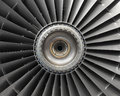 Aircraft engine fan blades of jet Stock Photos